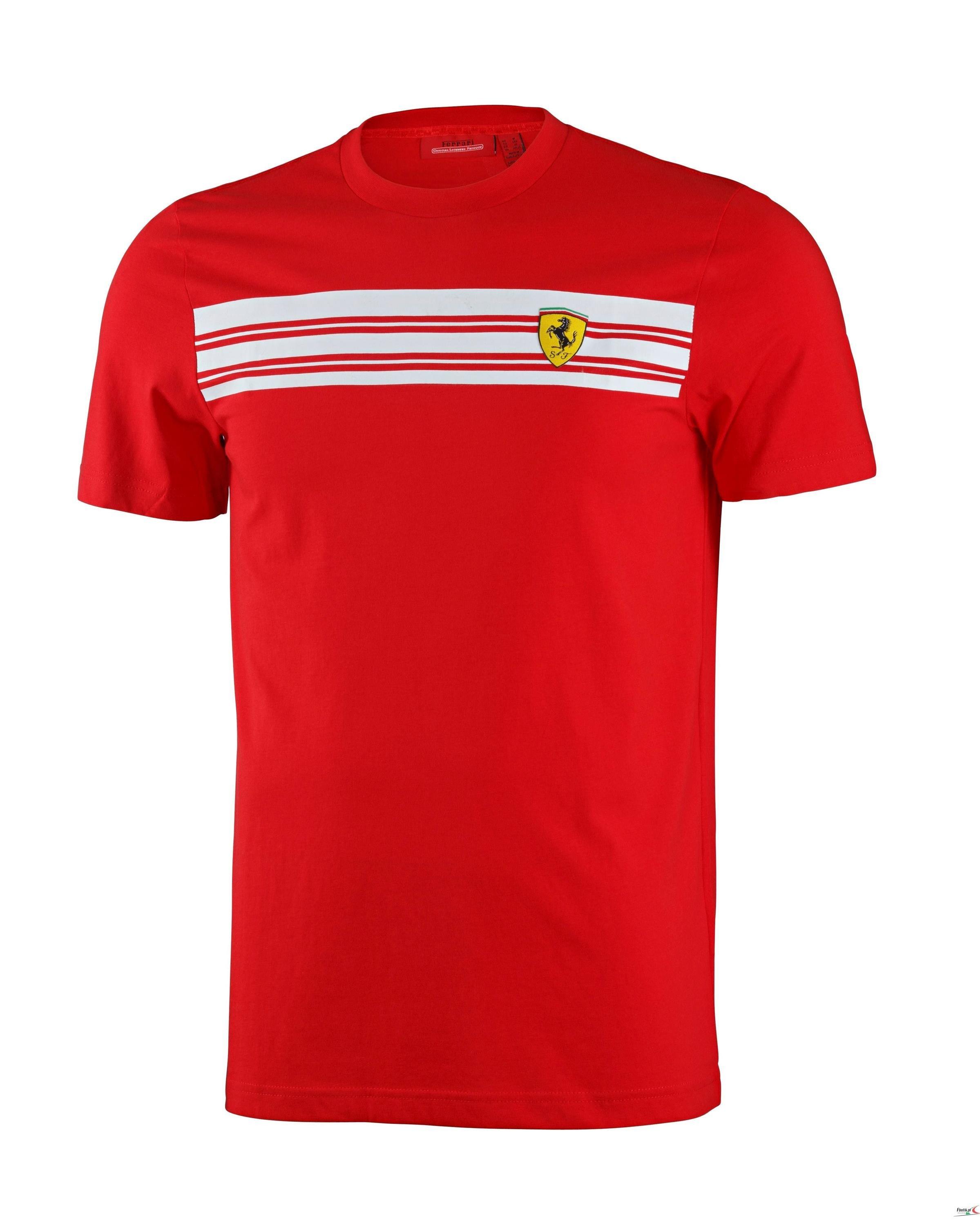 72801d50e1 Koszulka Ferrari Mens Striped Tee - Red 3